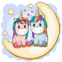 Two Cute Unicorns are sitting on the moon