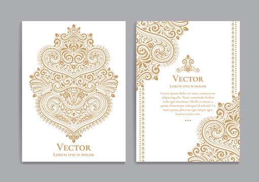 White and gold invitation cards with a luxurious vintage pattern.Great white card for invitation, flyer, menu, brochure, postcard, background, wallpaper, decoration, or any desired idea