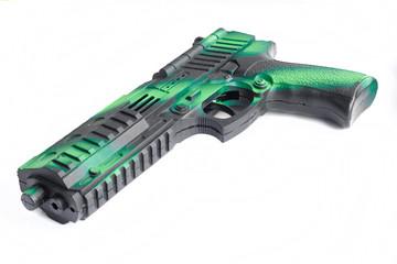 Handgun weapon toy on white background.