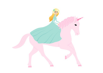 Vector illustration with cute cartoon girl on pink unicorn