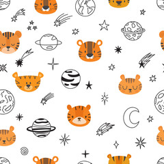 Cute space seamless pattern with cartoon tigers. Abstract print. Hand drawn nursery background with funny animals for little kids