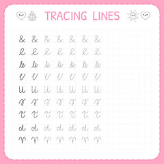 Tracing lines. Basic writing. Worksheet for kids. Working pages for children. Preschool or kindergarten worksheets. Trace the pattern