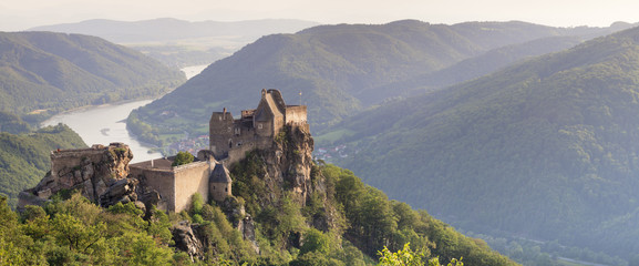 Aggstein Castle Ruin on Danube River at sunset, Cultural Landscape Wachau, UNESCO World Heritage Site, Austria, Europe