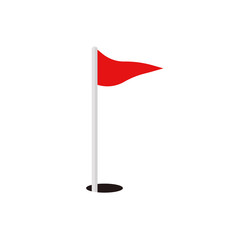 golf red flag and hole vector icon