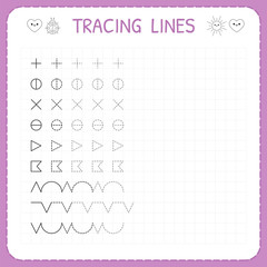 Tracing lines. Working pages for children. Preschool or kindergarten worksheets. Worksheet for kids. Basic writing. Trace the pattern