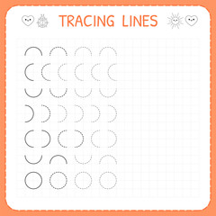 Tracing lines. Worksheet for kids. Basic writing. Working pages for children. Preschool or kindergarten worksheets. Trace the pattern