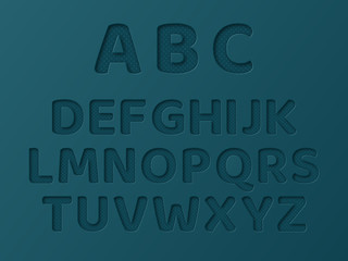 Paper cut letters with dotted pattern. 3d paper craft style. Blue color. Vector illustration.
