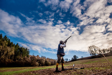 Gun shooting on a pheasant shoot, United Kingdom, Europe