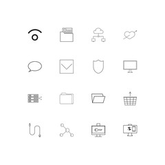 Network And Database simple linear icons set. Outlined vector icons