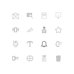 Signs And Symbols simple linear icons set. Outlined vector icons