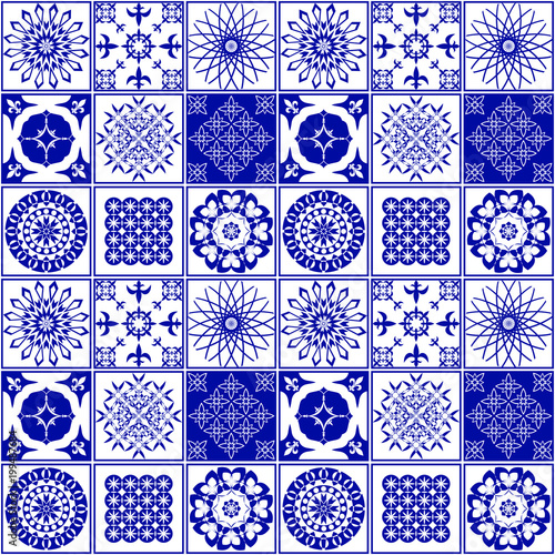 Pattern For Ceramic Tile Vector Illustration Of A Blue And White Patterns