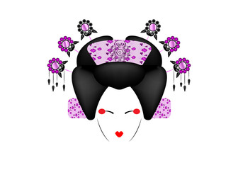 Geisha Portrait of Japanese or asian girl, traditional style with Japanese hairstyle, madama butterfly doll, Chinese or Japanese culture, fashion Peking Opera Doll, pink luxury vector illustration