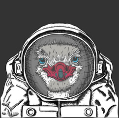 ostrich in a spacesuit. Vector illustration