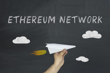 Ethereum network concept and paper aircraft