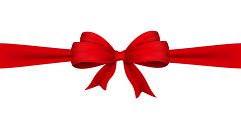 Vector realistic bow in red. A bow made of satin ribbon. Isolated on white. For the design of drawings with gifts, gift wrapping, postcards and other printed products. Vector EPS 10.