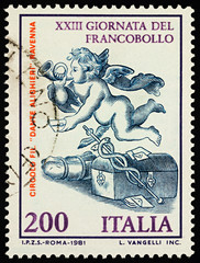 Angel with horn on postage stamp