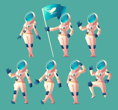 Vector set with cartoon astronaut girl in spacesuit and helmet, in different poses, holding flag, waving hand, walking, running. Clipart with cute women cosmonaut characters, space explorer or pilot