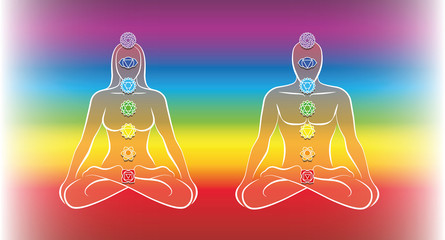 Seven main chakras. Meditating couple in yoga position body. Vector illustration on rainbow gradient background.