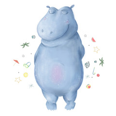Hippo Clip art animal hippopotamus gentle character on white background