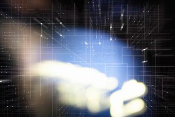 Tech Hintergrund mit Lichtstrahlen und elektronischem Schaltkreis