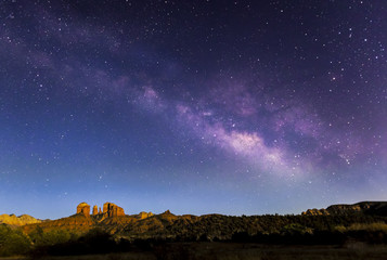 Milky Way Over Cathedral Rock - Sedona, Arizona