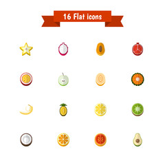 Set of 16 editable fruits icons flat style. Includes symbols such as pomegranate, pineapple, grapefruit and more. Can be used for web, mobile, UI and infographic design.