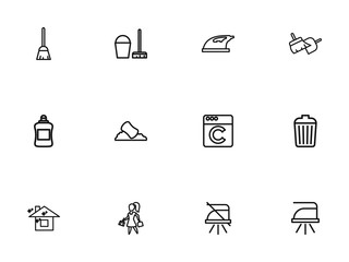 Set of 12 editable cleaning icons line style. Includes symbols such as trash, appliance, pure home and more. Can be used for web, mobile, UI and infographic design.