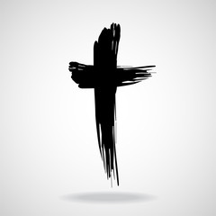 Hand drawn cross, grunge cross, christian symbol