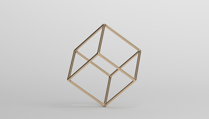 Abstract 3d rendering of a cube. Modern background with geometric shape. Minimalistic design for poster, cover, branding, banner, placard.
