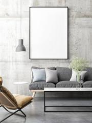 Canvas Mock up minimal Scandinavian design, living room, 3d render, 3d illustration
