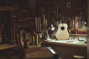 Interior of guitar workshop