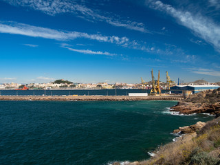 Views of the port of Cartagena in Murcia, Spain.