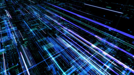 Abstract digital abstract virtual city. Scanning city for hackers attack concept. Software developer, programming, binary computer code with technology and connection concept. Wall mural