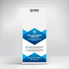 Roll-up banner template, design stand for conferences, presentations, promotions and events, geometric background for placement of advertising information