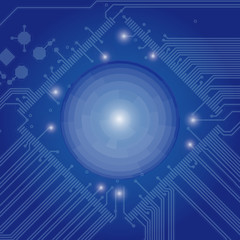 Abstract high tech blue background with a circuit board texture. Vector technology Illustration.