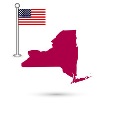 Map of the U.S. state of New York on a white background. America