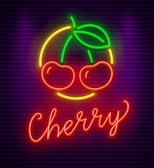 Cherry neon sign with berries and green leaf in circle. Symbol