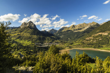 Pena Foratata peak, Lanuza lake and scenic Tena Valley mountain town, Sallent de Gallego, Pyrenees, Huesca Province, Spain, Europe