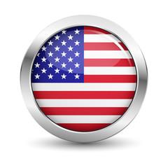 USA Flag Icon Badge Vector Button