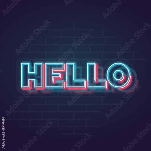 Neon trendy hello sign  Glowing memphis style word  Square line art