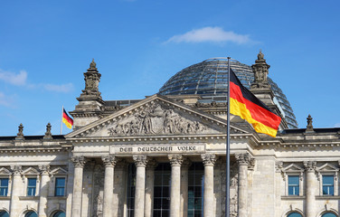 Deurstickers Berlijn German Flag Waving Bundestag Berlin Germany
