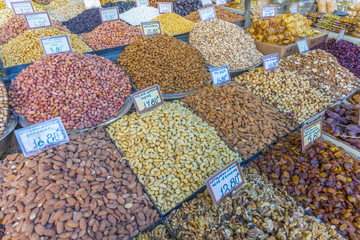 Nuts, dried fruits and raisens produce stall in Market