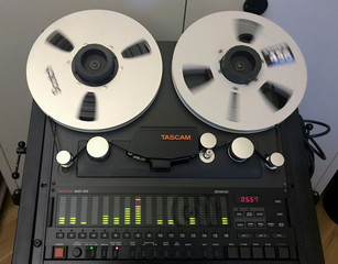 A Tascam MSR-16S Dolby S NR 16 track analog reel to reel tape recorder is pictured in Berlin