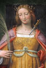 Santa Cecilia affresco di Bernardino Luini. Chiesa di San Maurizio, Milano