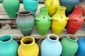 Avanos style handmade colorful clay cubes in Nevsehir, Turkey