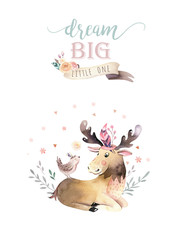 Fototapete - Cute watercolor bohemian baby moose animal poster for nursary, alphabet woodland isolated forest illustration for children. Baby shower animals invitation