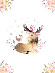 Wall Mural - Cute watercolor bohemian baby moose animal poster for nursary, alphabet woodland isolated forest illustration for children. Baby shower animals invitation