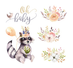 Wall Mural - Cute watercolor bohemian baby raccoon animal poster for nursary with bouquets, children alphabet woodland isolated forest illustration. Baby shower animals invitation