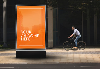 Advertising Kiosk with City Biker Mockup