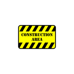 Standard yellow and black construction area sign